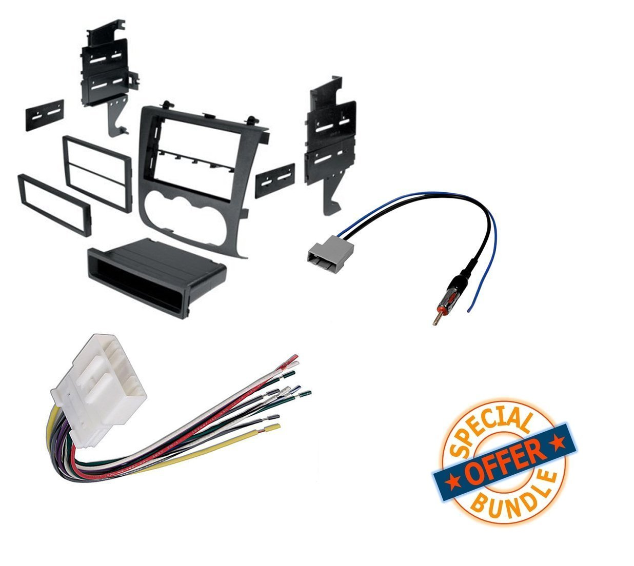 hight resolution of nissan altima 2007 2011 double din radio stereo installation dash kit wire harness and antenna adatper walmart com