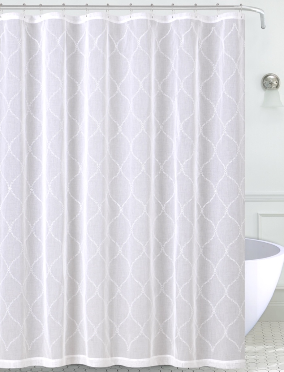 white embroidered moroccan sheer shower curtain for bathroom