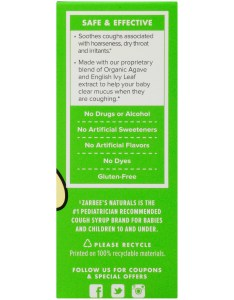 Zarbee   naturals baby cough syrup mucus with agave ivy leaf natural grape flavor fl ounces box walmart also rh