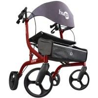Hugo Explore Side-Fold Rollator Walker with Seat, Backrest ...