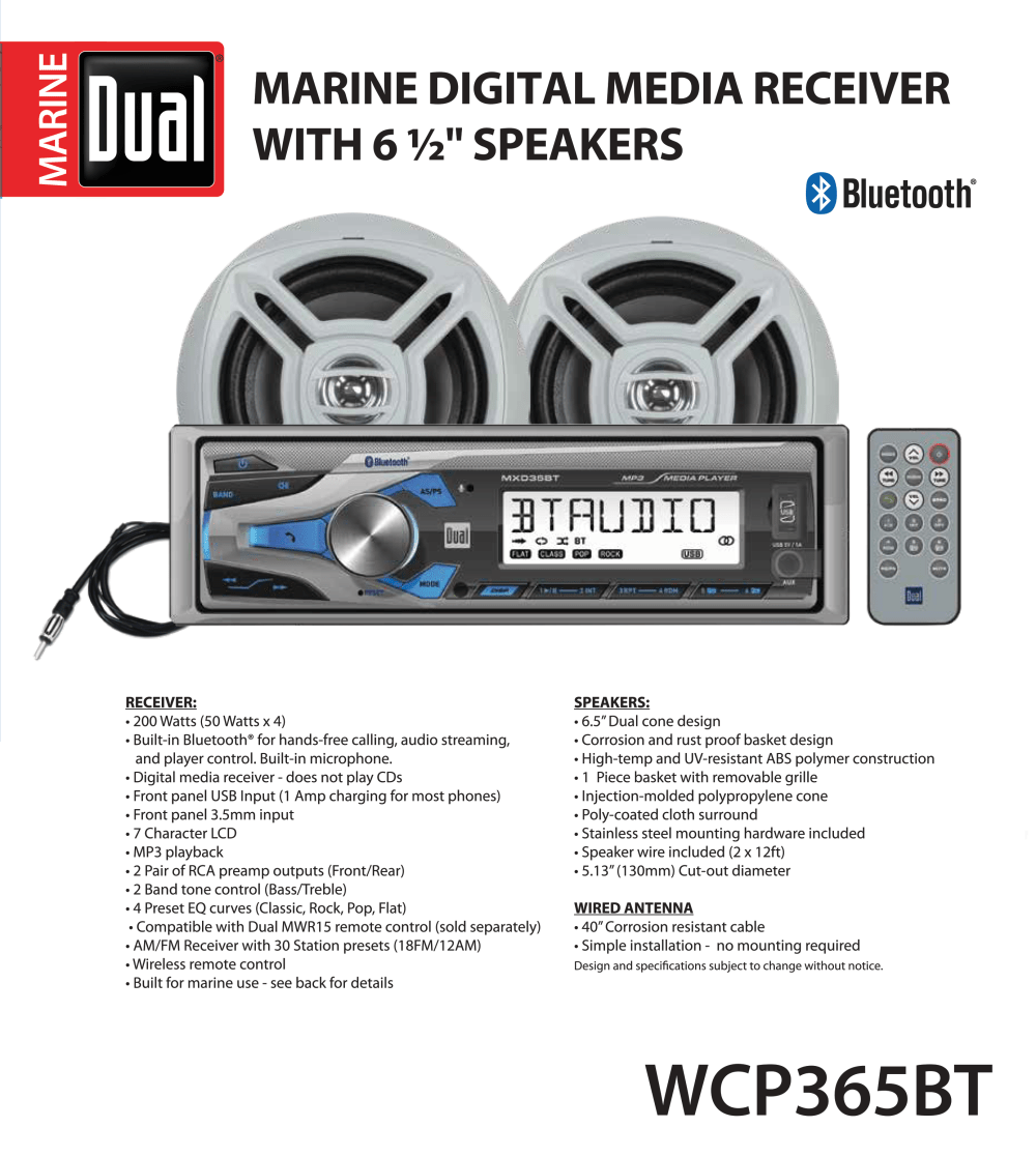 medium resolution of dual electronics wcp365bt marine stereo lcd single din with built in bluetooth usb port two 6 5 inch dual cone marine speakers long range marine antenna