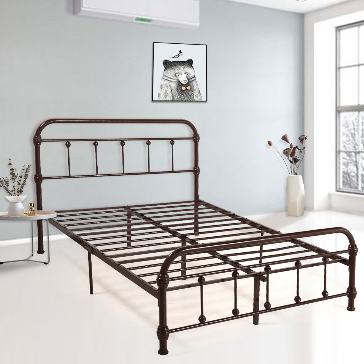 jaxpety metal bed frame platform metal support headboard footboard multiple sizes and colors