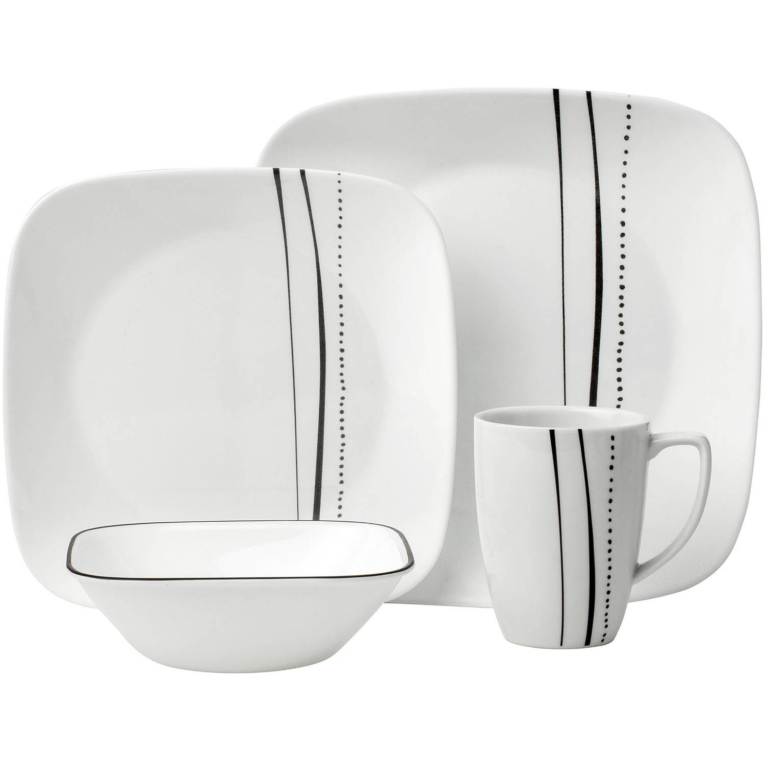 Corelle Square 16 Pc Dinnerware Set Cascading Lines Square