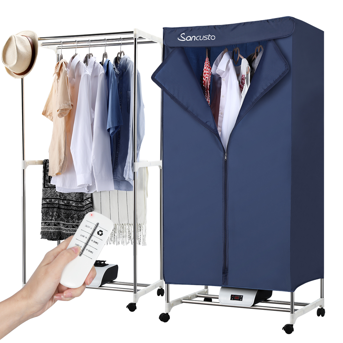 electric clothes dryer portable clothes drying rack wardrobe heated clothes airer for camping rv dorm apartment efficient clothes heater remote