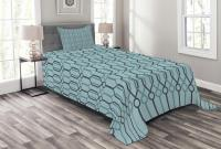 Turquoise Bedspread Set, Oriental Moroccan Style Shapes ...