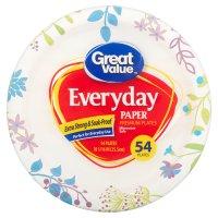 "Great Value Everyday Premium Paper Plates, 10 1/16"", 54 ..."