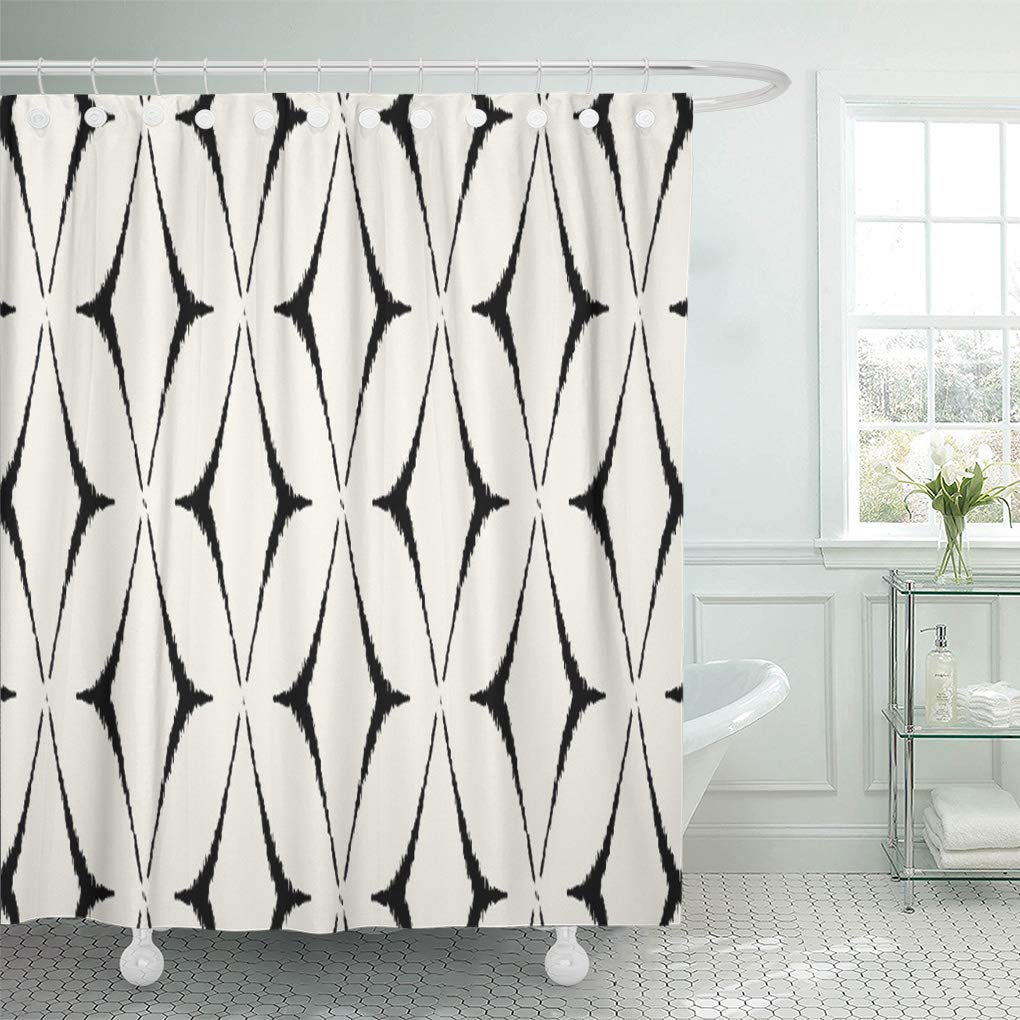 suttom pattern modern black and white ikat bold contemporary shower curtain 66x72 inch