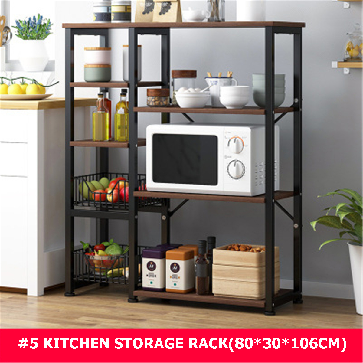 kitchen storage stand bakers rack shelf industrial style microwave stand