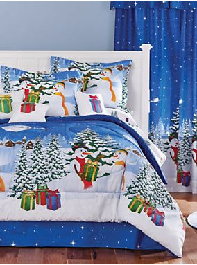 Christmas Themed Frosty The Snowman Queen Size Comforter