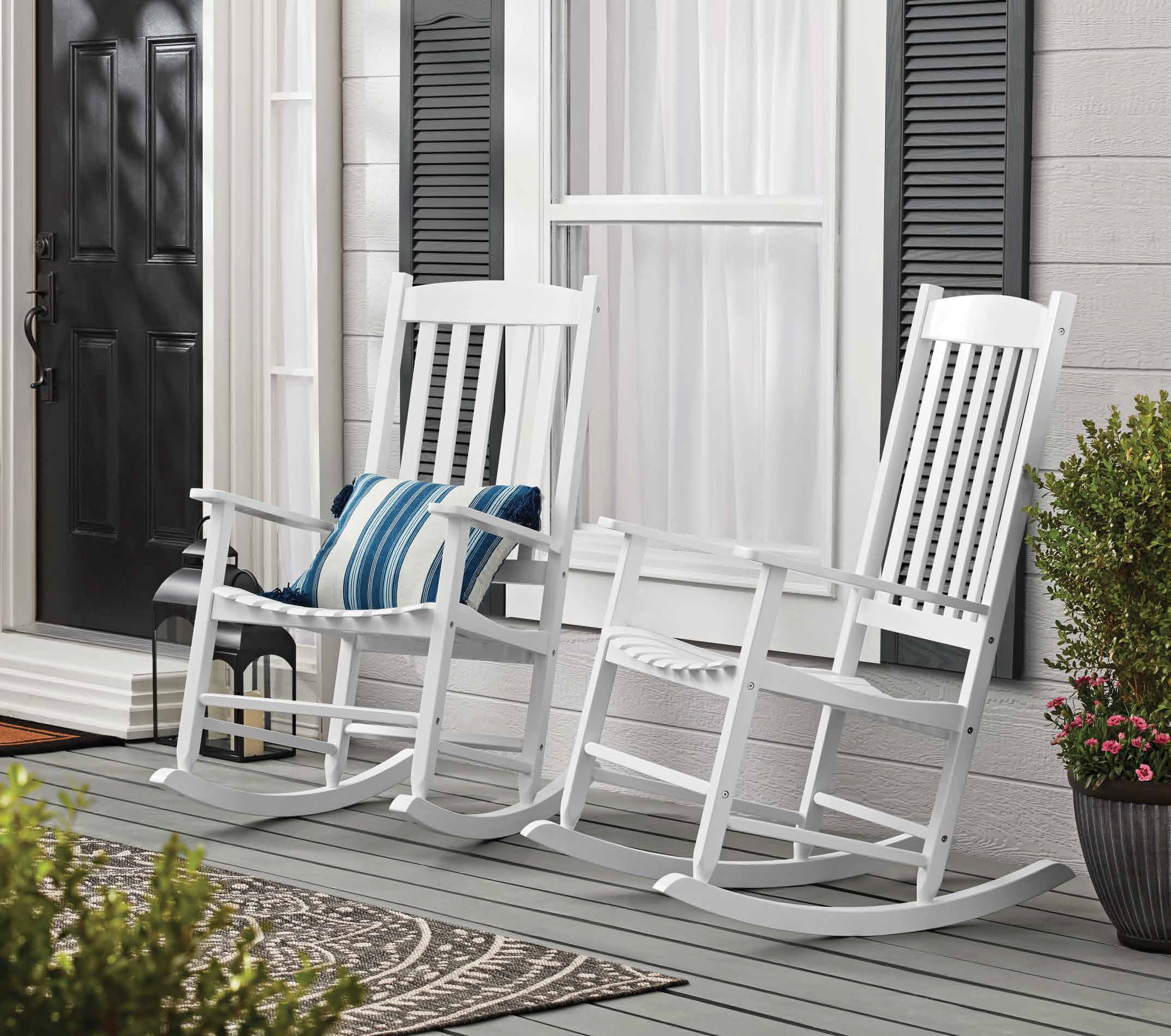 mainstays outdoor wood porch rocking chair white color weather resistant finish walmart com