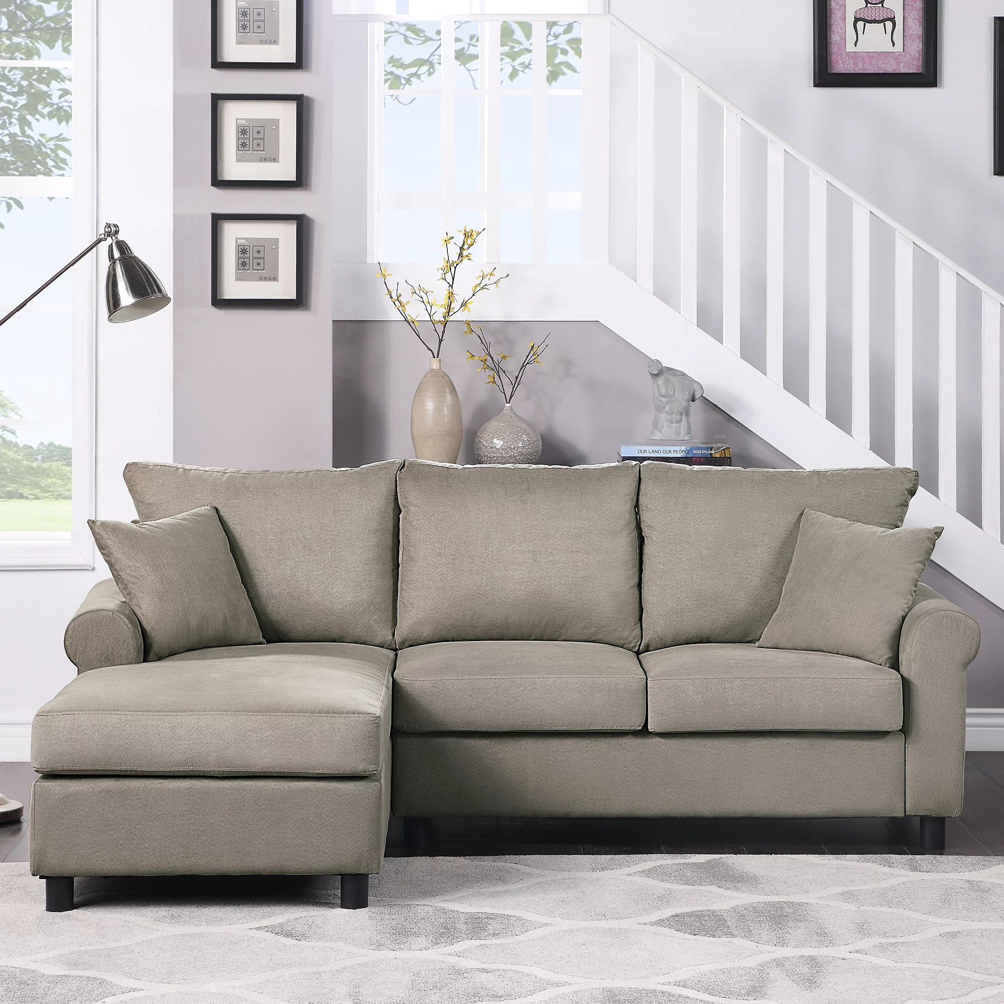 segmart mid century 2 piece sectional sofa sets on sale 35 x 85 x 61 upholstered polyester fabric sectional sofas with chaise lounge loveseat