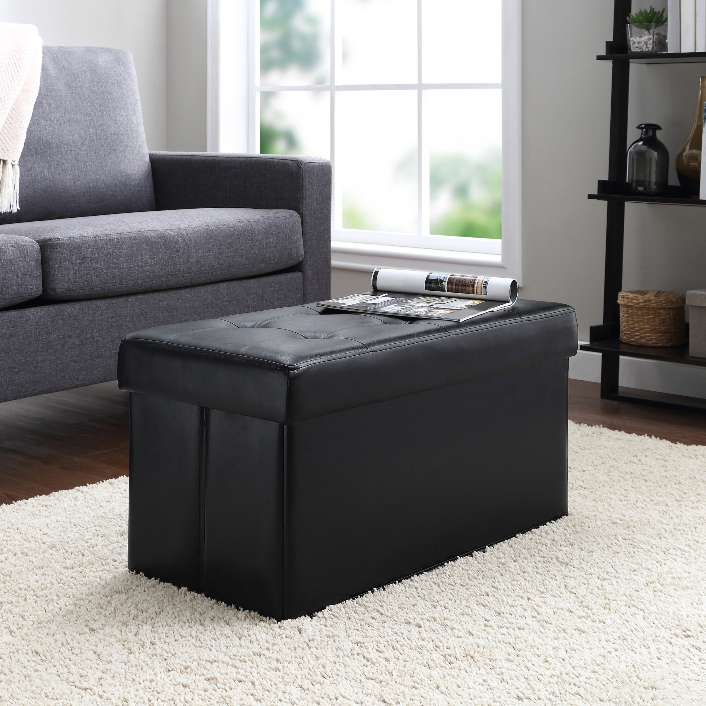 mainstays collapsible storage ottoman quilted black faux leather
