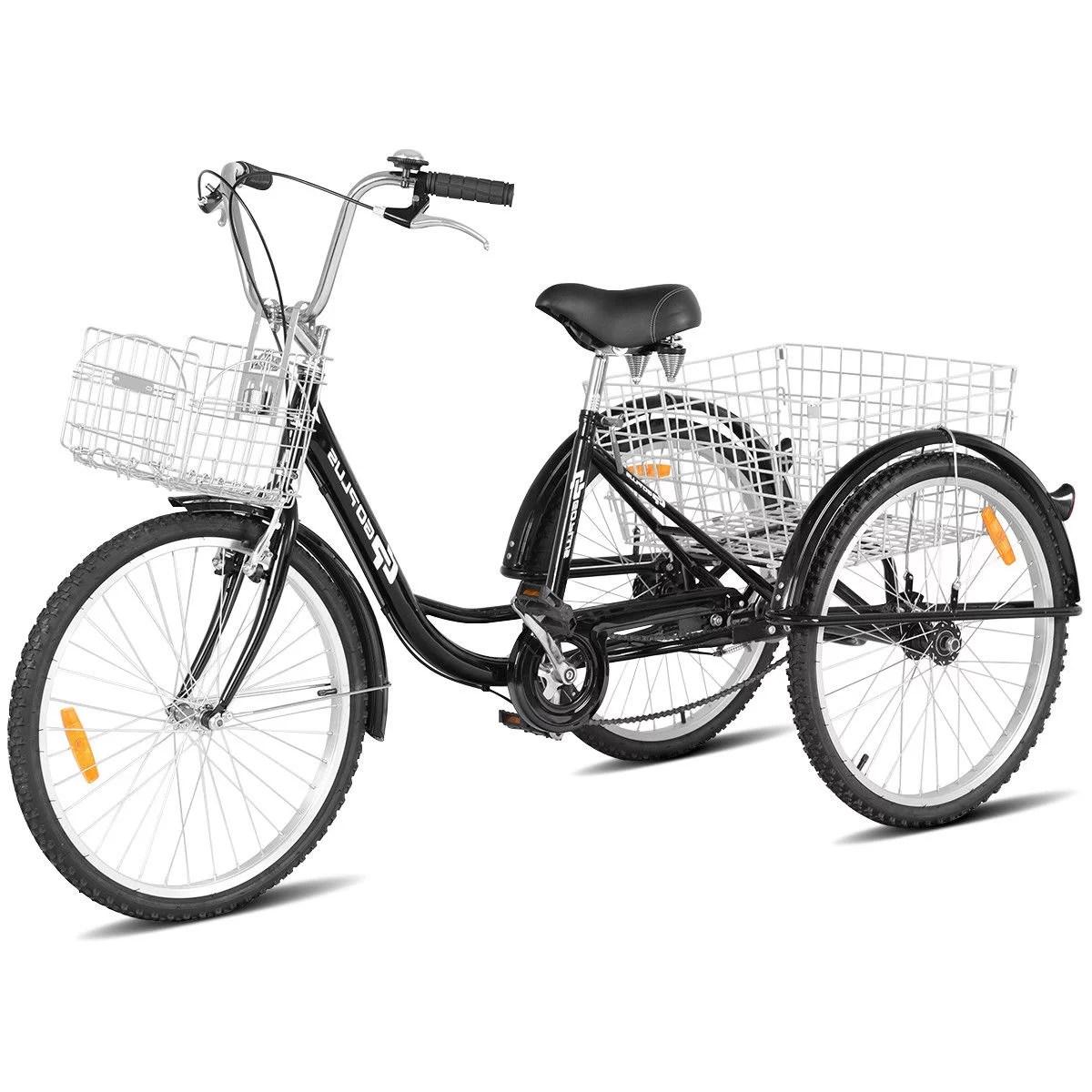 Goplus 24'' Single Speed 3-wheel Bicycle Adult Tricycle