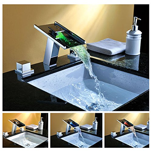 cascada color changing led waterfall bathroom sink faucet chrome finish two handles hdd746