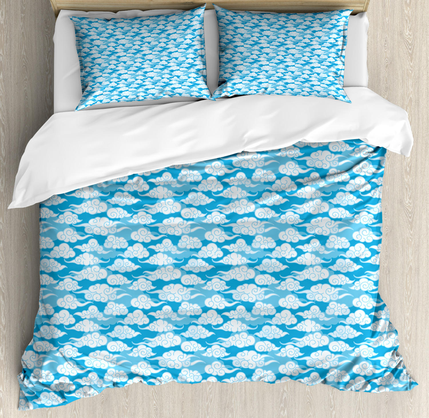 Blue And White Duvet Cover Set Far Eastern Japanese Style Cloud Motifs Swirled Sky Elements Decorative Bedding Set With Pillow Shams Azure Blue Pale Blue White By Ambesonne Walmart Com Walmart Com