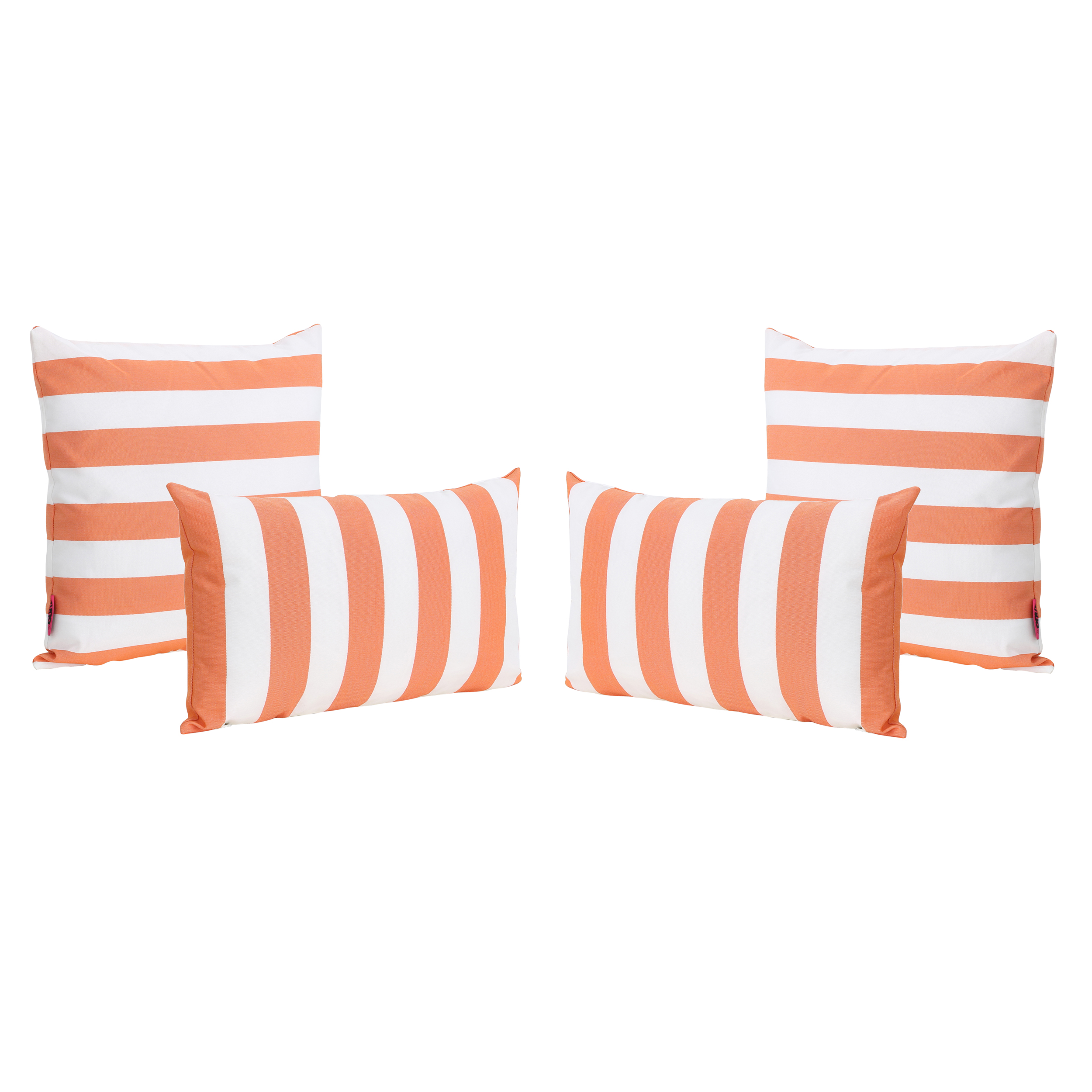 la jolla outdoor water resistant square and rectangular throw pillows set of 4 orange and white striped
