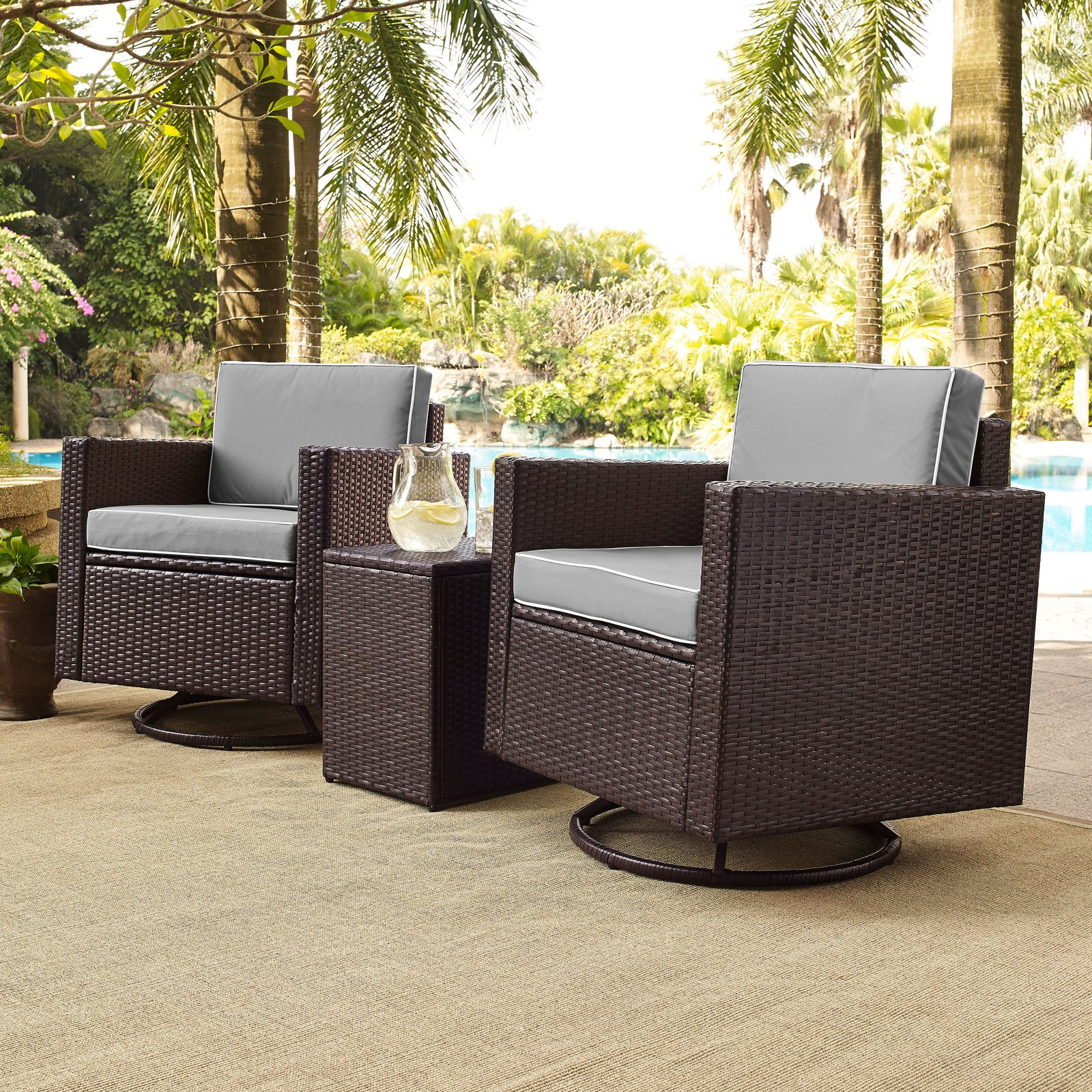 table with swivel chairs swing chair lazada malaysia palm harbor 3 piece outdoor wicker conversation set grey cushions two side walmart com