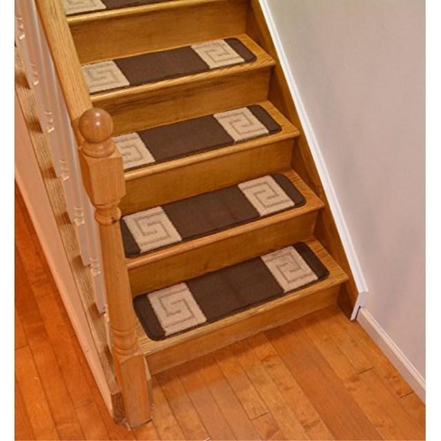 Millenium Stair Tread Treads Greek Key Design Indoor Skid Slip | 30 Inch Carpet Stair Treads | Sided Tape | Bullnose Wraparound | Machine Washable | Greek Key | Non Skid