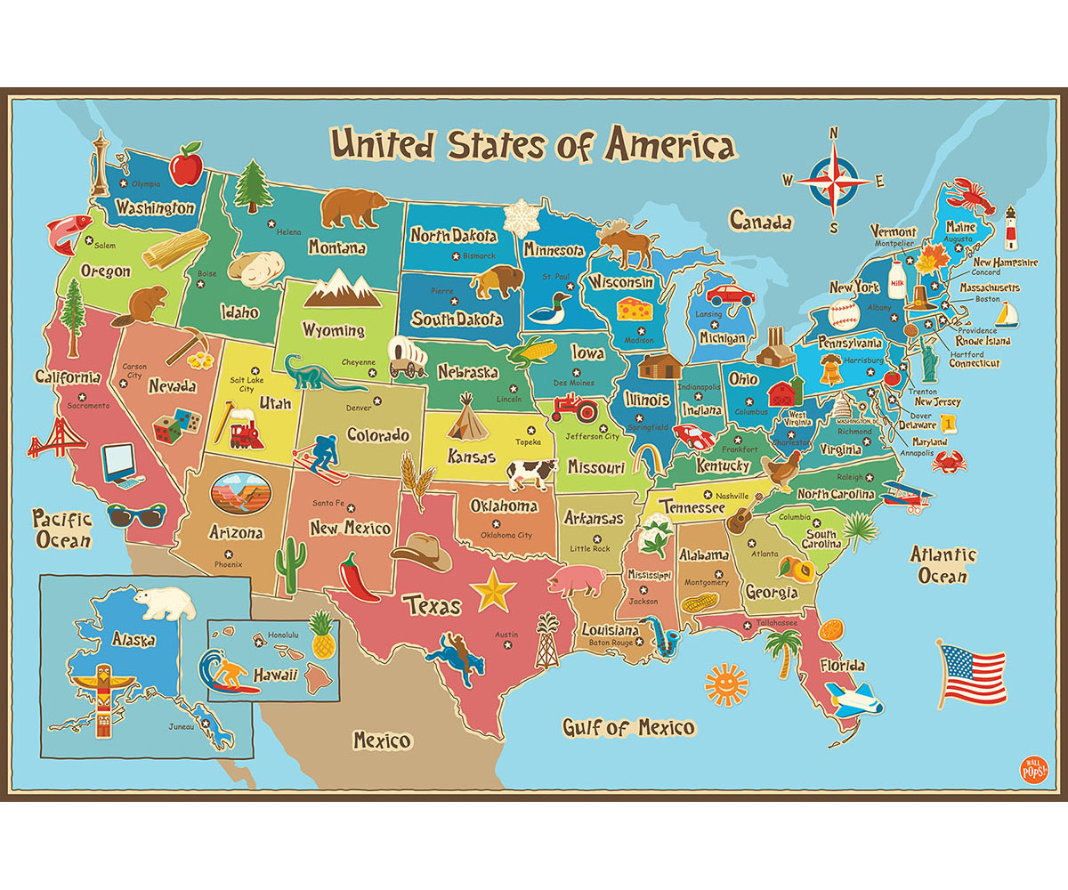 Wallpops Kids Usa Dry Erase Map Decal
