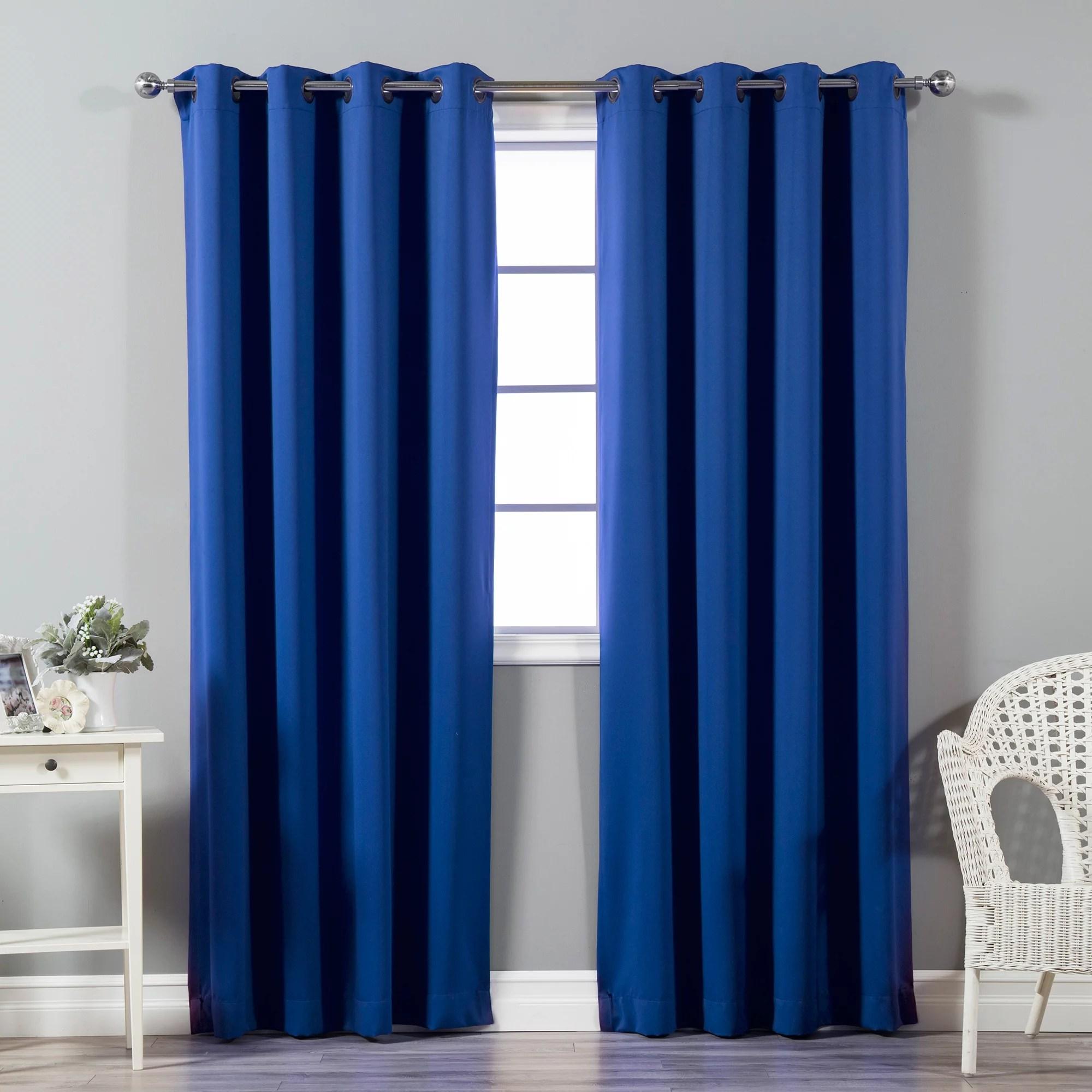 quality home basic thermal blackout curtains antique bronze grommet top royal blue set of 2 panels