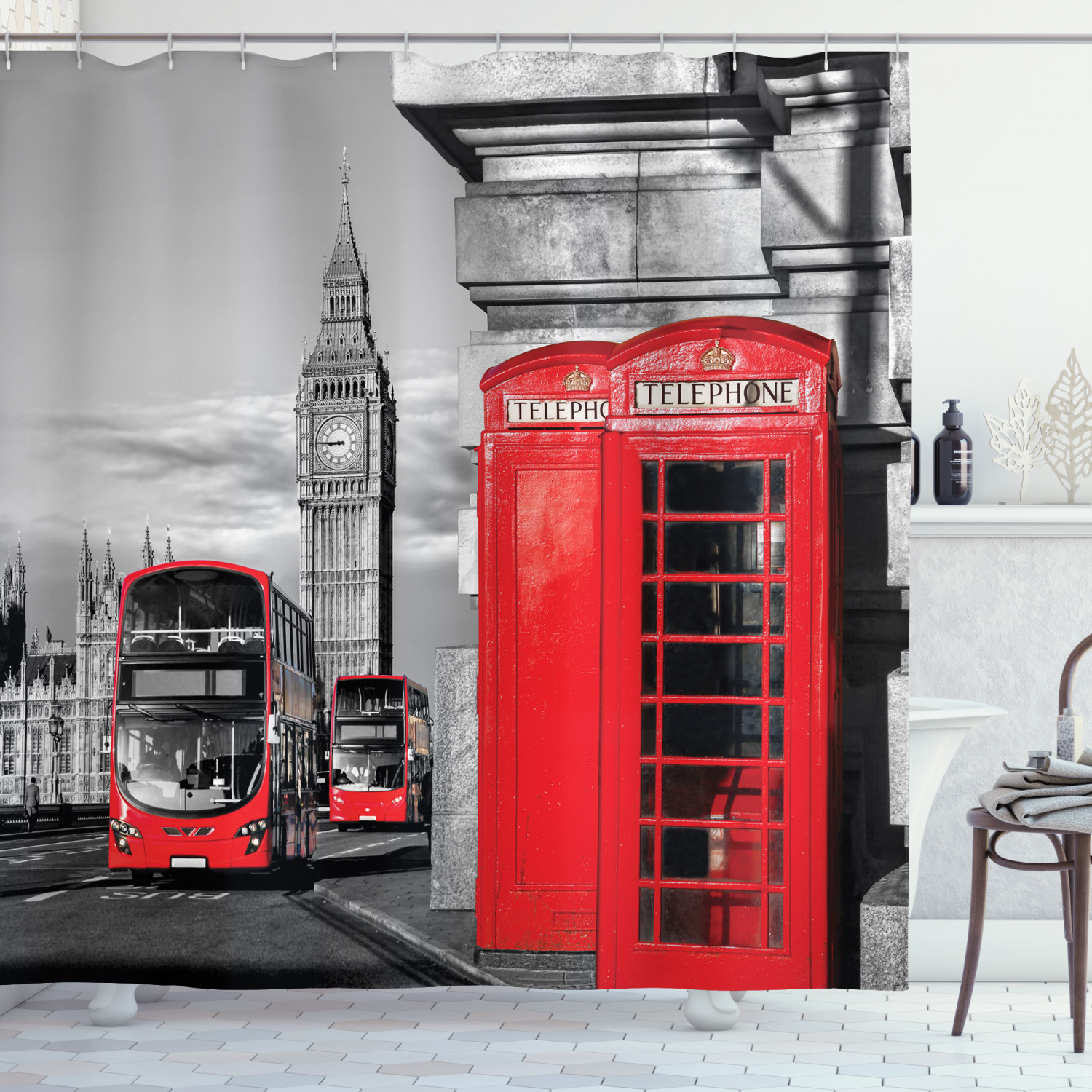 london decor shower curtain set london telephone booth in the street traditional local cultural icon england uk retro print bathroom accessories