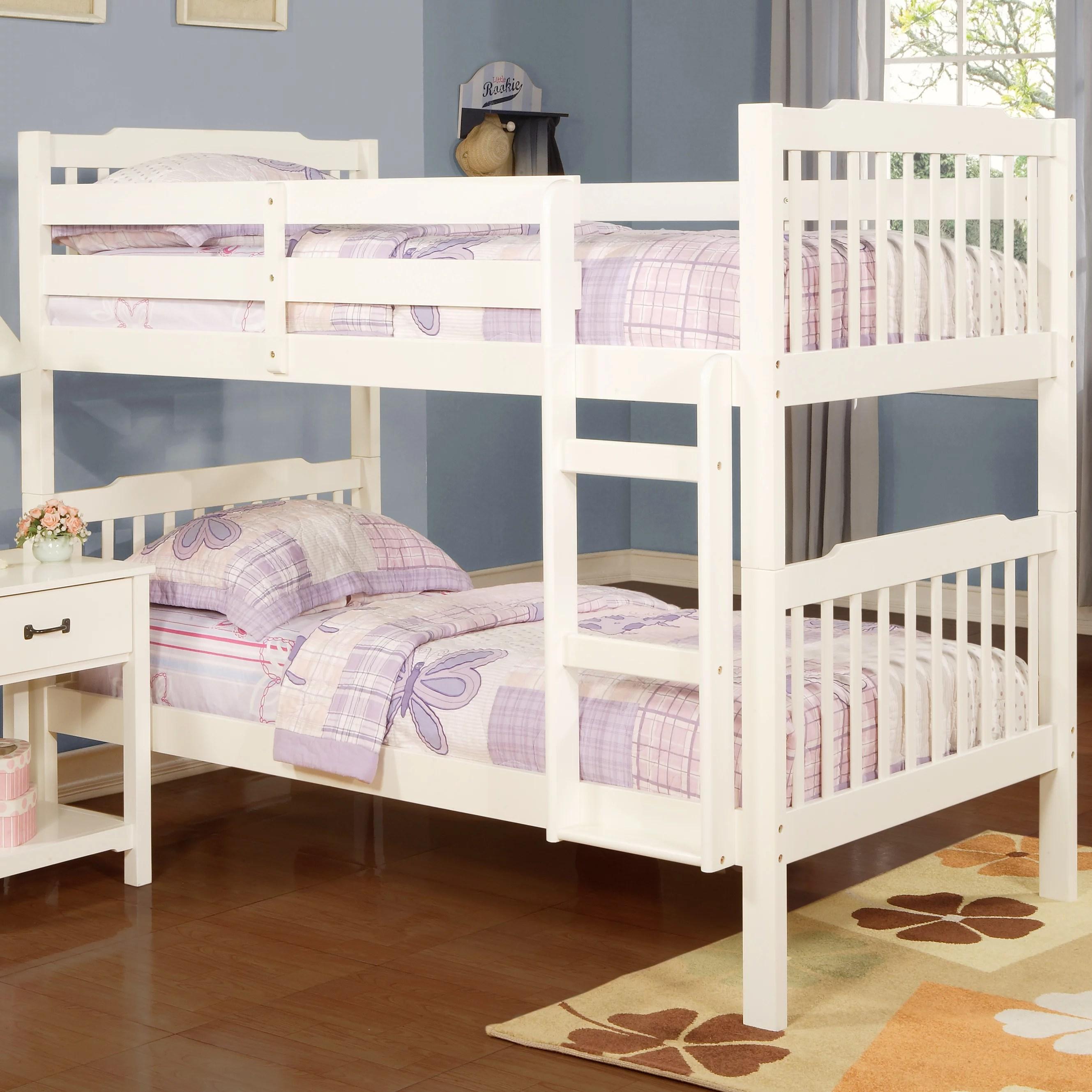 Chelsea Lane Elise Convertible Twin Over Twin Wood Bunk Bed White Walmart Com Walmart Com