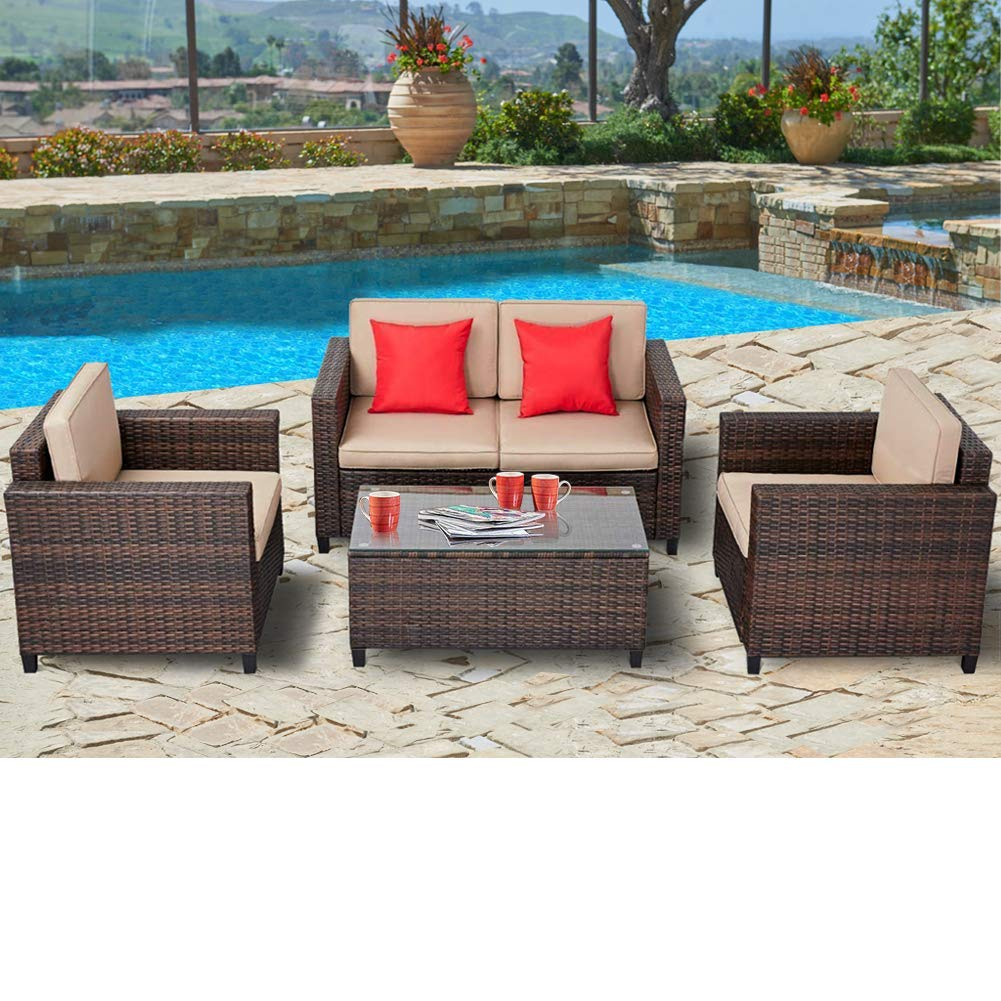 suncrown outdoor 4 piece wicker patio sofa conversation sets with cushions and glass table