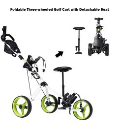costway foldable 3 wheel push pull golf club cart trolley w seat scoreboard bag swivel walmart com [ 1200 x 1200 Pixel ]