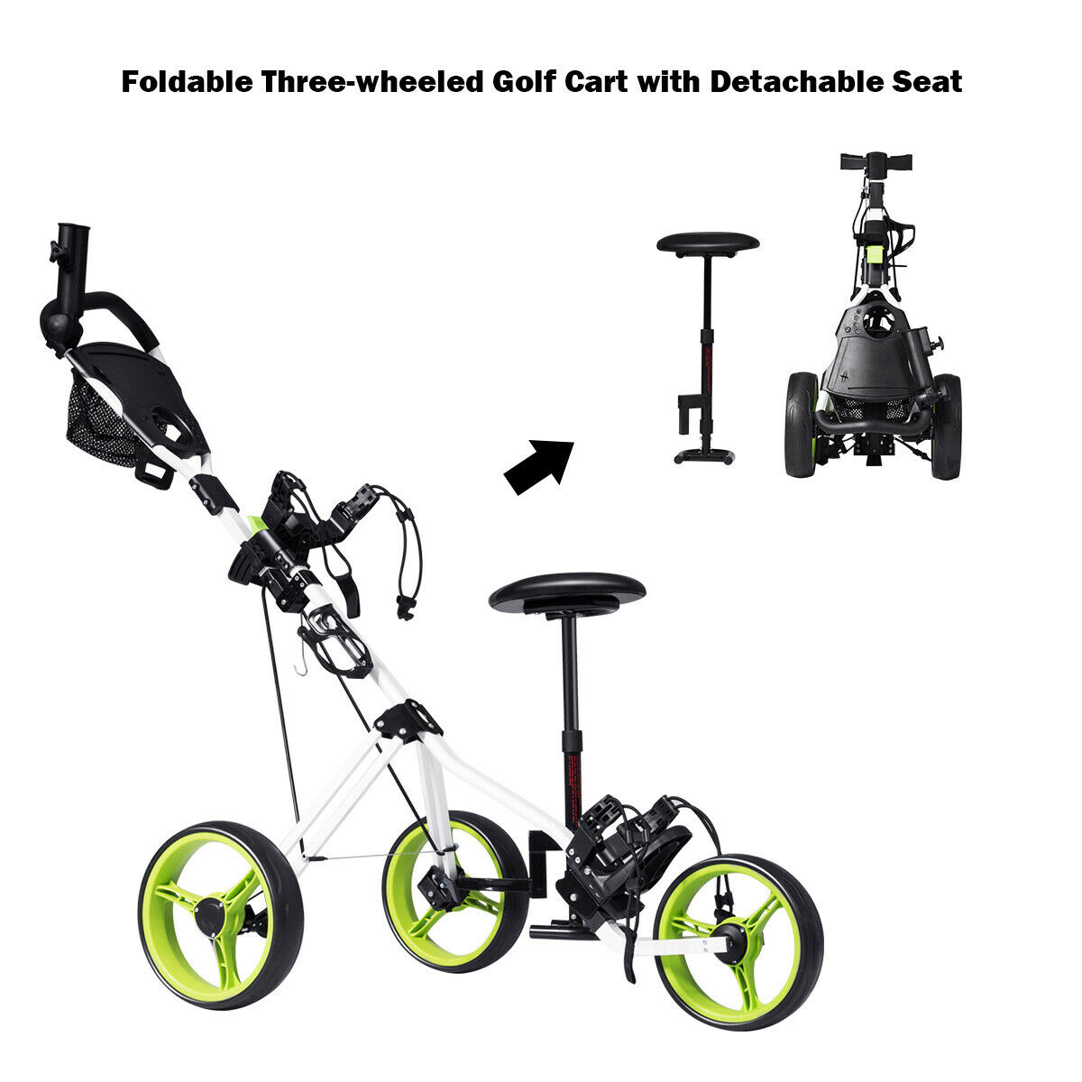 hight resolution of costway foldable 3 wheel push pull golf club cart trolley w seat scoreboard bag swivel walmart com