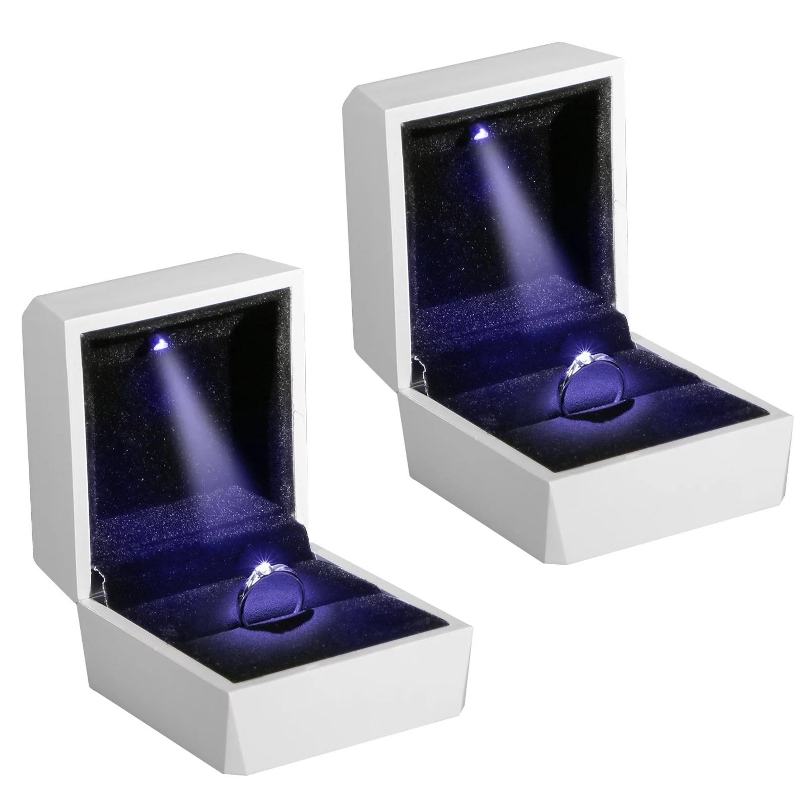 EEEkit  2pack Night Box Light up LED Diamond Ring Box White LED Light Velvet Jewelry Gift for