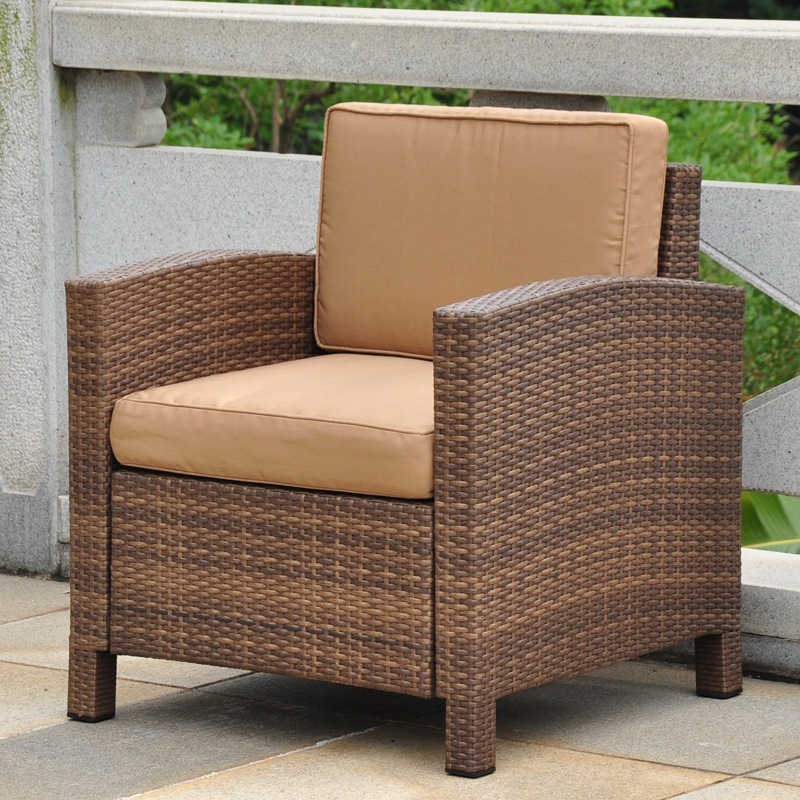 Outside Lounge Chairs International Caravan Barcelona All Weather Wicker Contemporary Patio Lounge Chair With Cushions