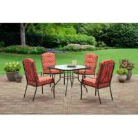 Mainstays Ashwood Heights 5-Piece Outdoor Dining Set, Red ...
