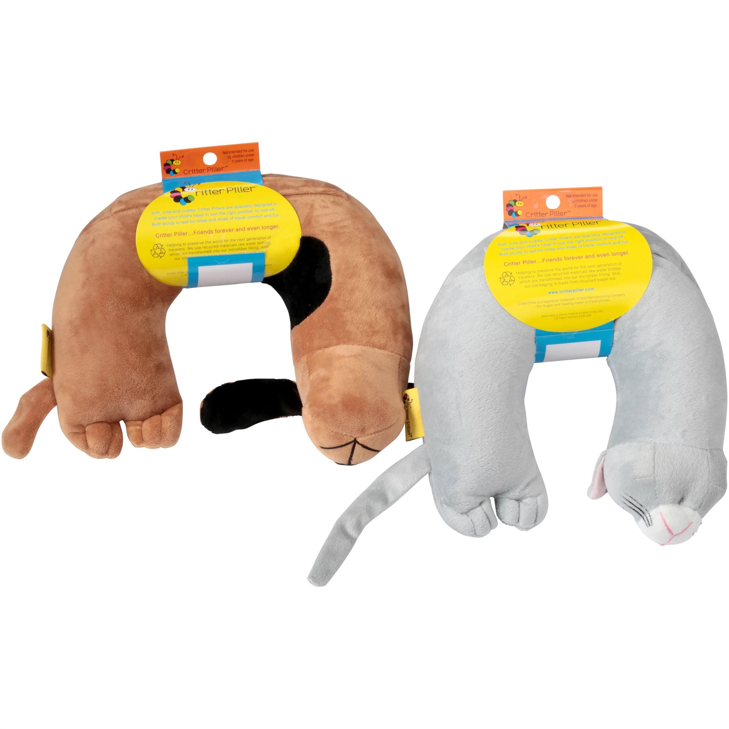 critter piller kid s travel buddy comfort pillows 2 ct pack
