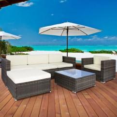 6pc Outdoor Patio Garden Wicker Furniture Rattan Sofa Set Sectional Grey Slipcover Recliner - Walmart.com