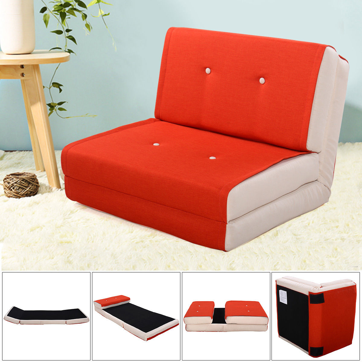 flip chair walmart brown office chairs costway fold down out lounger convertible sleeper bed couch game dorm orange ...