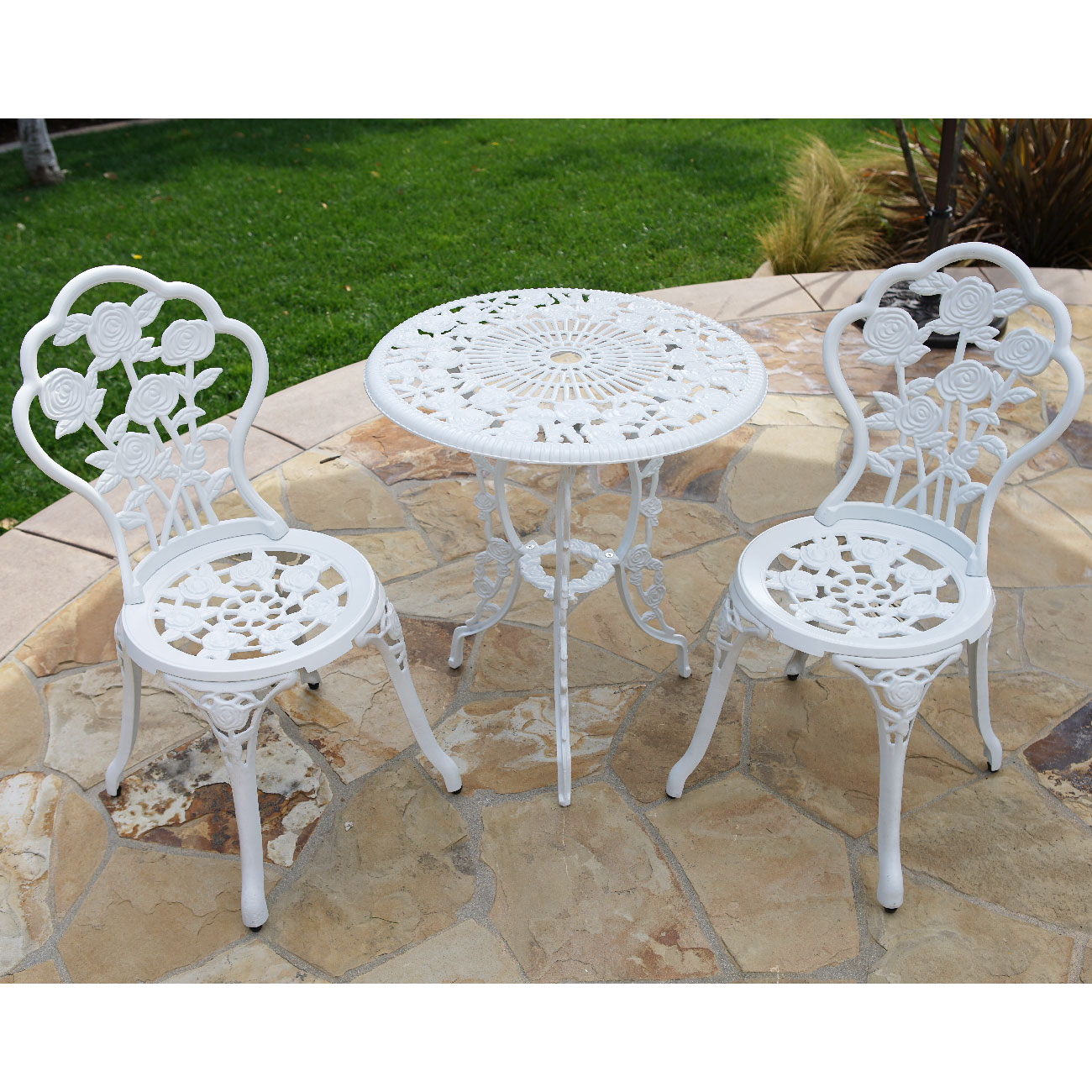 patio bistro table and chairs big bird plastic chair belleze 3 piece outdoor set rose design weather resistant round walmart com