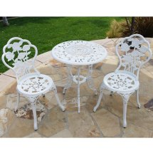 Belleze 3-piece Outdoor Patio Bistro Set Rose Design