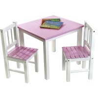 Toddler Solid Wood Table & 2 Chair Set, Pink & White ...
