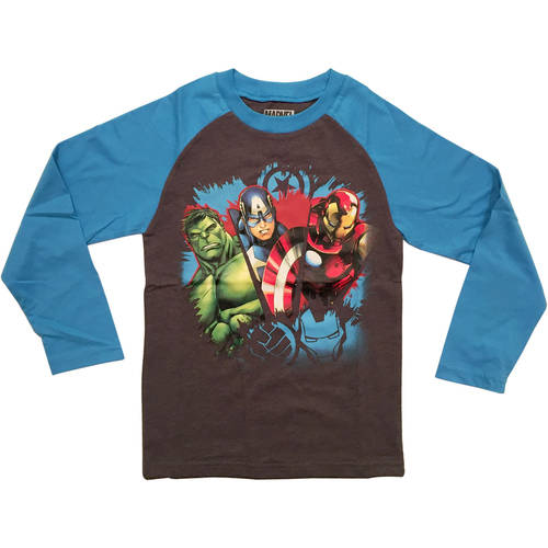 Marvel Avengers Boys Character Fashion Long Sleeve Raglan Graphic Tee