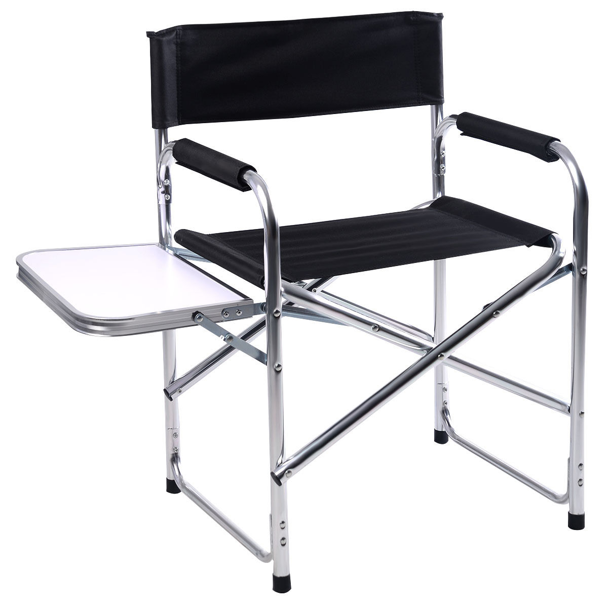 Folding Directors Chair With Side Table Costway Aluminum Folding Director S Chair With Side Table Camping Traveling