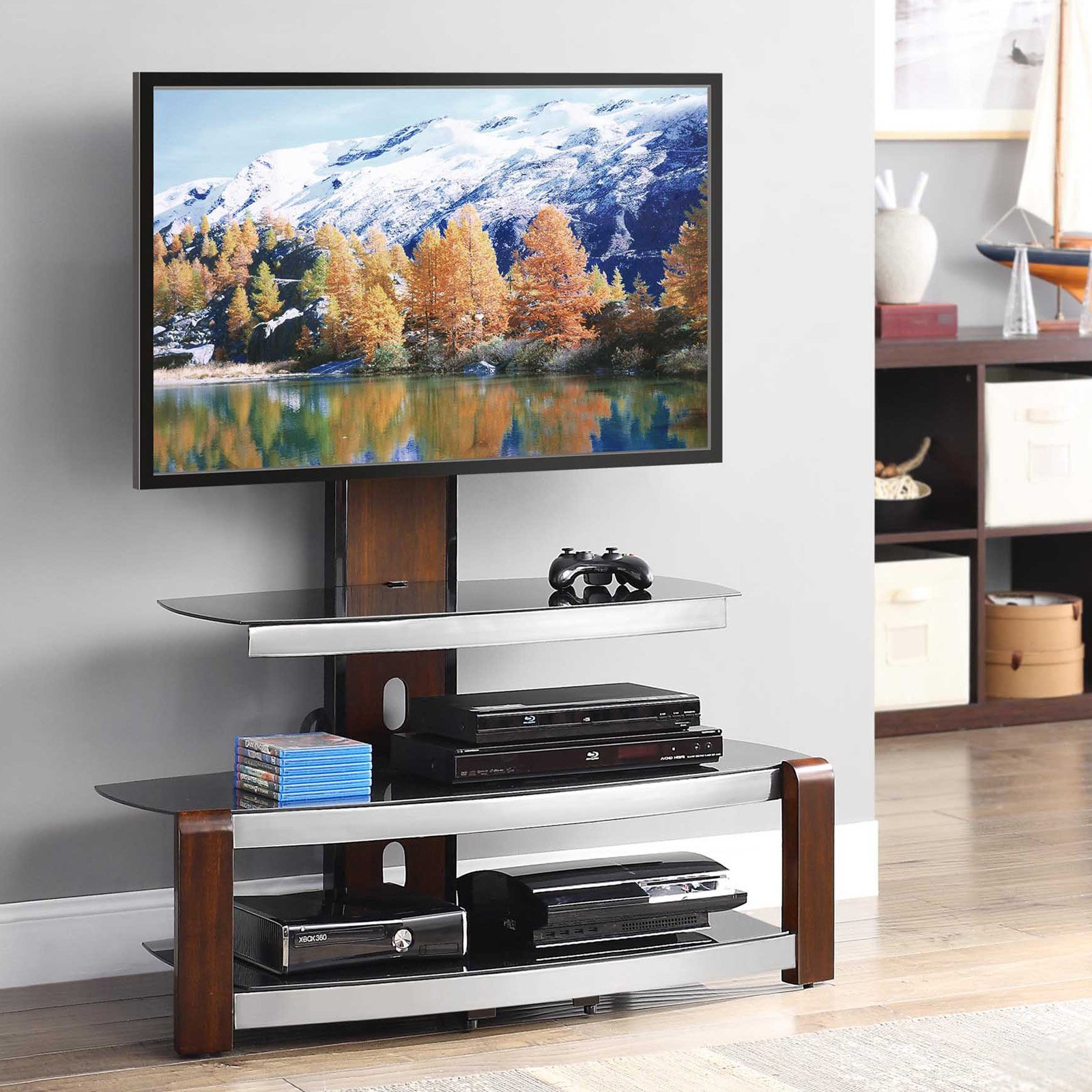 Whalen Espresso TV Stand with Swinging Mount for TVs up to 56  Walmartcom