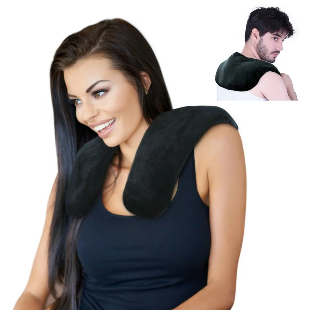 clay bead shoulder and neck heating pad by fomi care reusable hot contour neck wrap for pain relief relaxation moist heat microwavable soft