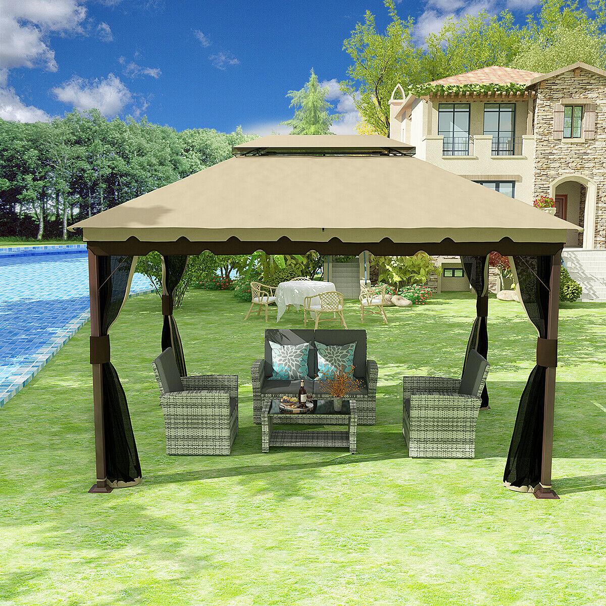 yitahome 10x12 gazebo canopy double roof garden tent patio w mosquito netting walmart com