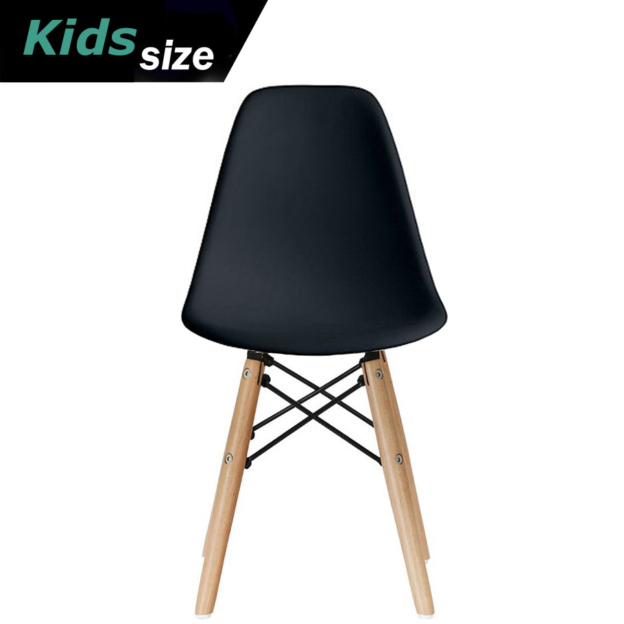 black plastic chair with wooden legs oval dining room covers 2xhome kids size side seat natural wood eiffel