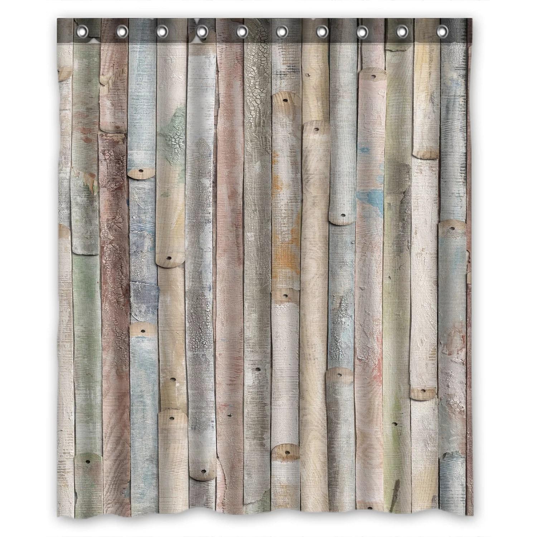 zkgk rustic old barn wood waterproof shower curtain bathroom decor sets with hooks 66x72 inches walmart com