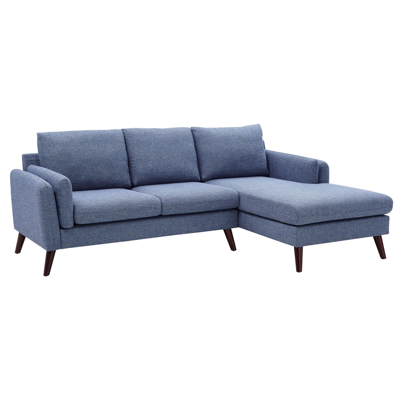 founders blue fabric mid century modern sectional sofa chaise walmart com