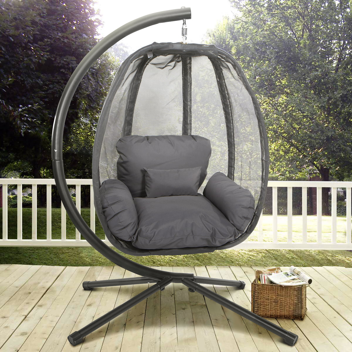 patio hanging egg chair seat covers canada xtremepowerus outdoor swing hammock w departments