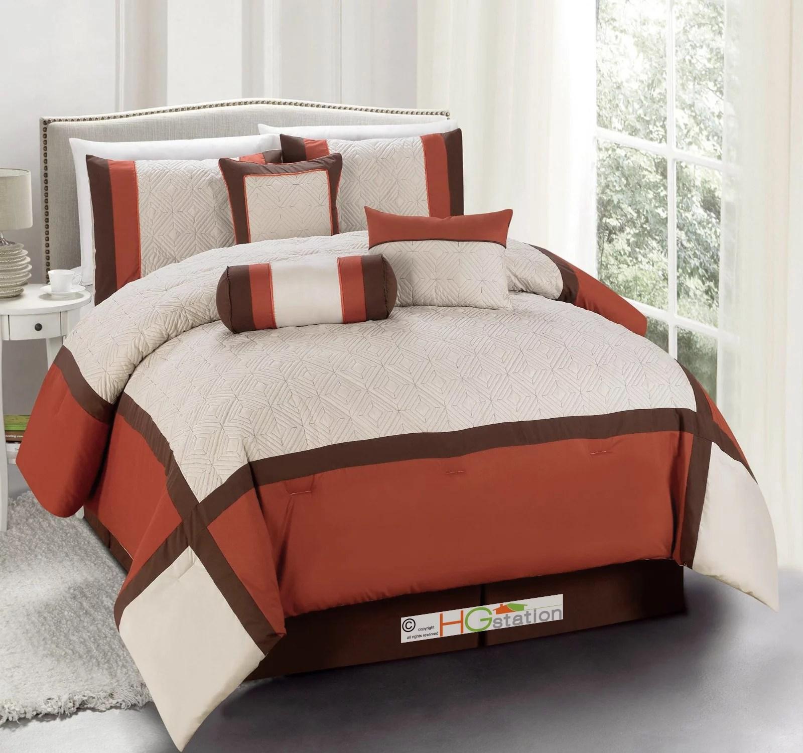 11 pc quilted diamond square patchwork modern comforter curtain set rust orange brown beige queen walmart com