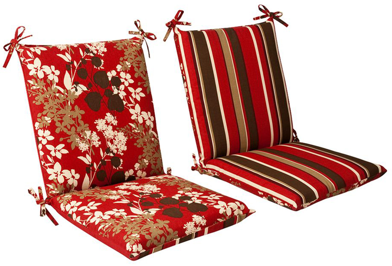 36 5 tropical red and brown striped reversible outdoor patio furniture mid back chair cushion