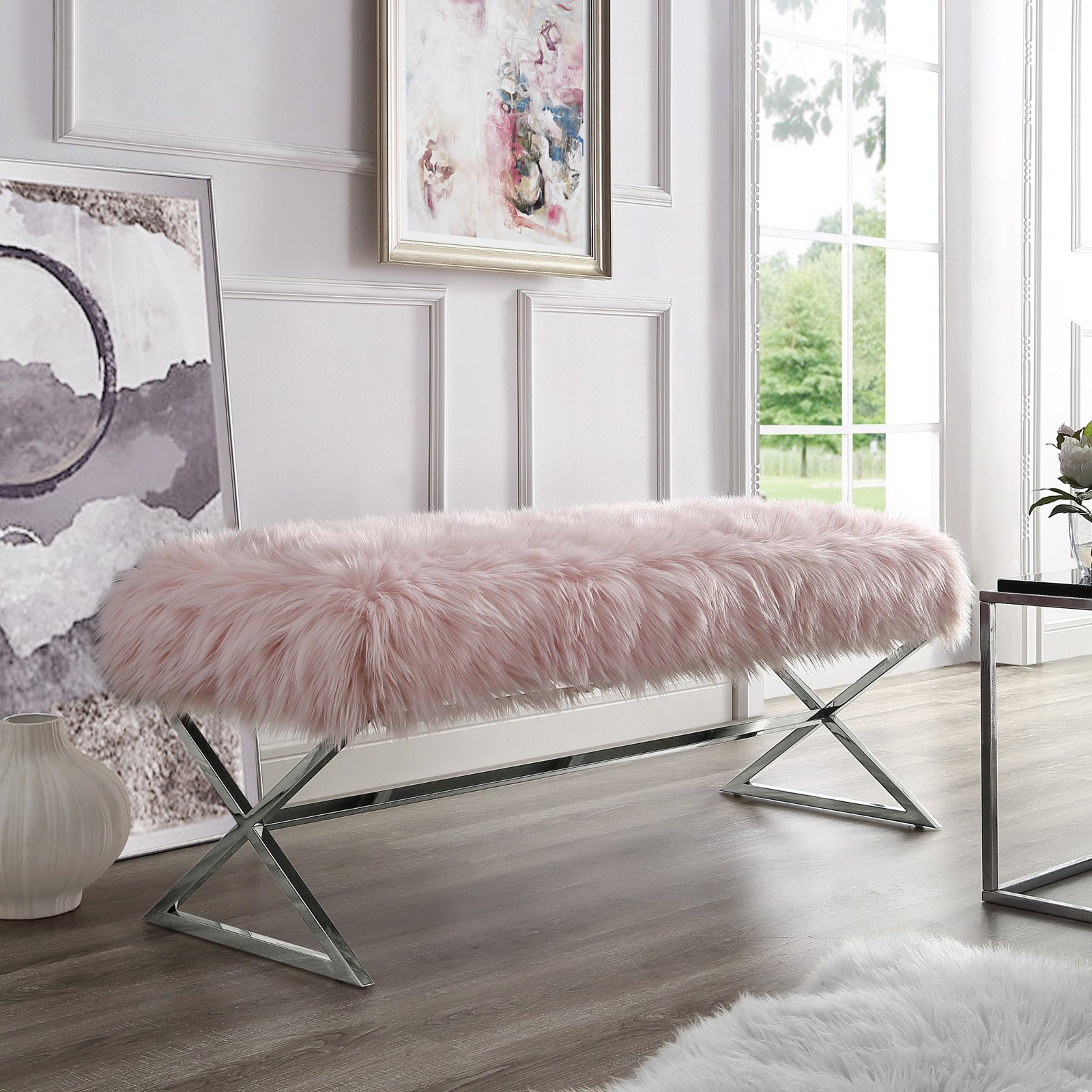 Inspired Home Nicole Faux Fur Backless Bedroom Bench Walmart Com Walmart Com